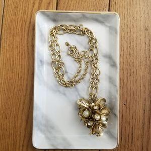 J. Crew Crystal Floral Drop Pendant Necklace